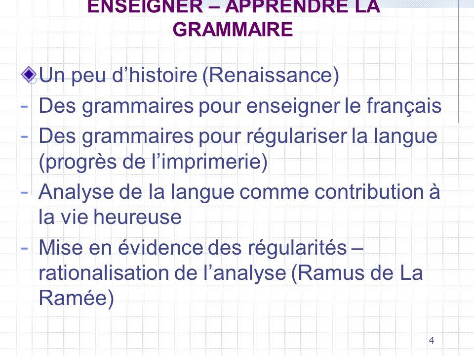 5 ENSEIGNER – APPRENDRE LA GRAMMAIRE Un peu dhistoire : la grammaire à lâge classique Le bon usage, la recherche de la perfection sont privilégiés.