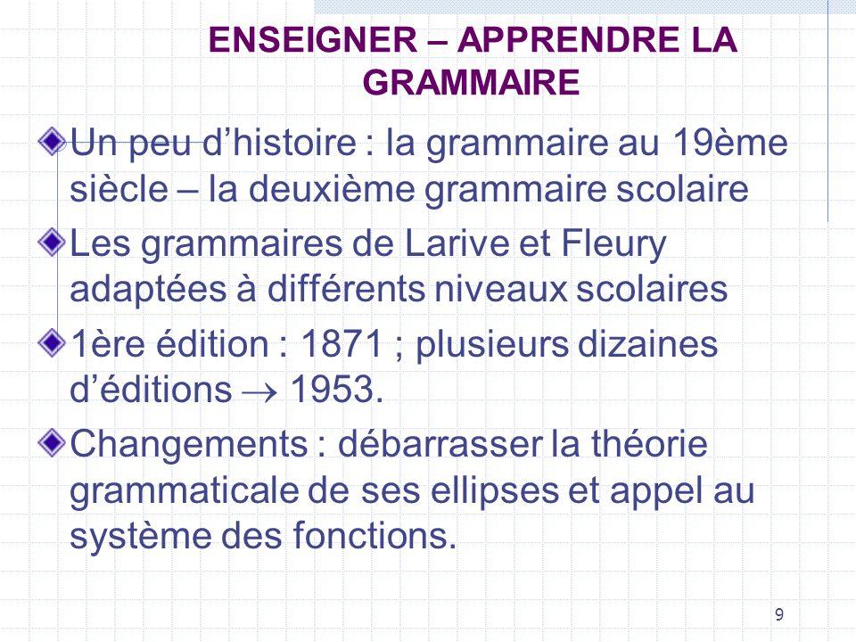 9 ENSEIGNER – APPRENDRE LA GRAMMAIRE Un peu dhistoire : la grammaire au 19ème siècle – la deuxième grammaire scolaire Les grammaires de Larive et Fleu