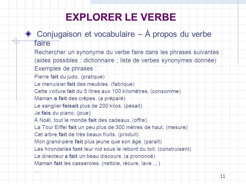 11 EXPLORER LE VERBE Conjugaison et vocabulaire – À propos du verbe faire Rechercher un synonyme du verbe faire dans les phrases suivantes : (aides po