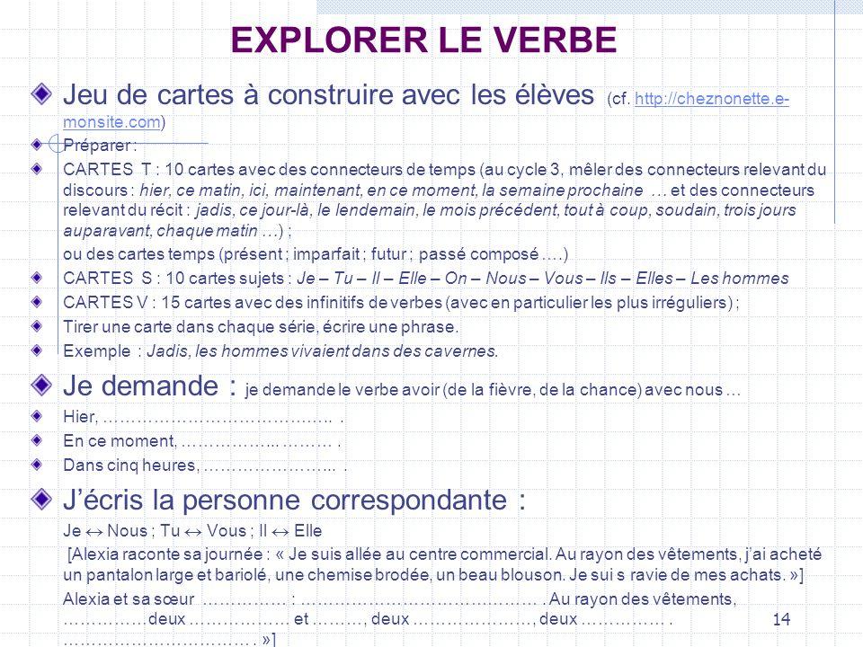 14 EXPLORER LE VERBE Jeu de cartes à construire avec les élèves (cf. http://cheznonette.e- monsite.com)http://cheznonette.e- monsite.com Préparer : CA