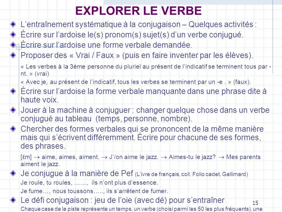 15 EXPLORER LE VERBE Lentraînement systématique à la conjugaison – Quelques activités : Écrire sur lardoise le(s) pronom(s) sujet(s) dun verbe conjugu