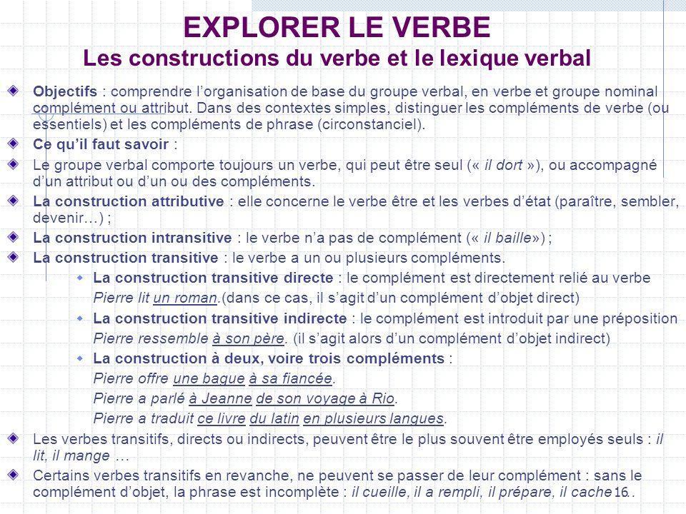16 EXPLORER LE VERBE Les constructions du verbe et le lexique verbal Objectifs : comprendre lorganisation de base du groupe verbal, en verbe et groupe