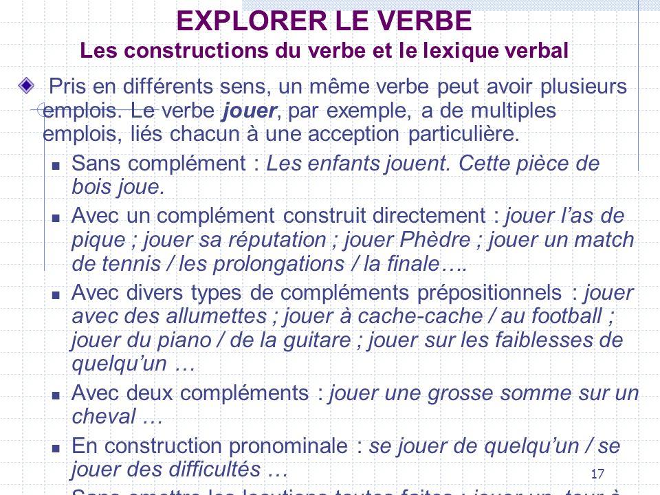 17 EXPLORER LE VERBE Les constructions du verbe et le lexique verbal Pris en différents sens, un même verbe peut avoir plusieurs emplois. Le verbe jou