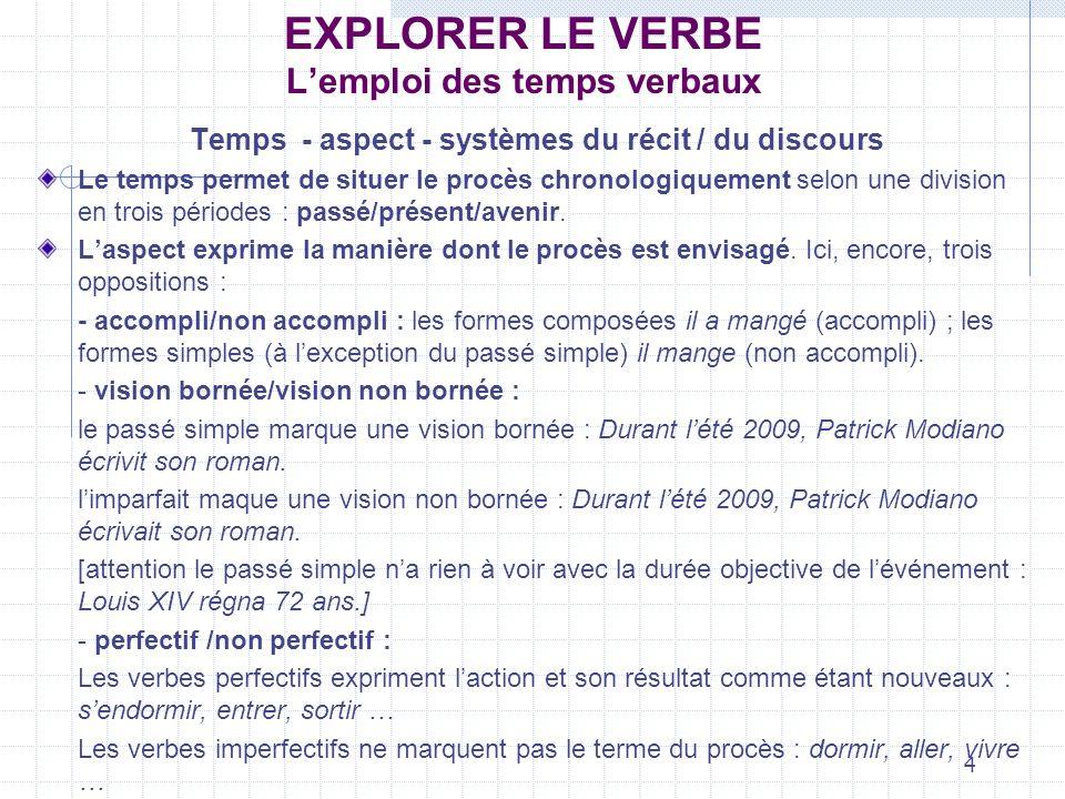4 EXPLORER LE VERBE Lemploi des temps verbaux Temps - aspect - systèmes du récit / du discours Le temps permet de situer le procès chronologiquement s