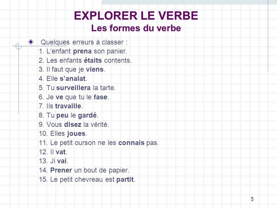 5 EXPLORER LE VERBE Les formes du verbe Quelques erreurs à classer : 1. Lenfant prena son panier. 2. Les enfants étaits contents. 3. Il faut que je vi