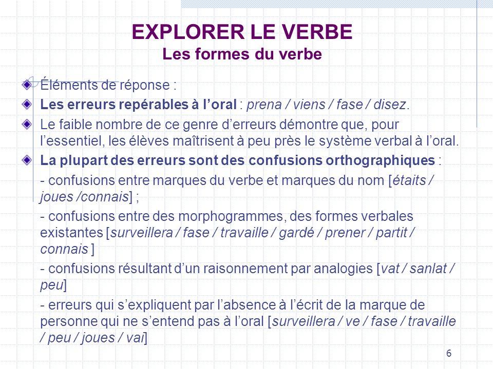 6 EXPLORER LE VERBE Les formes du verbe Éléments de réponse : Les erreurs repérables à loral : prena / viens / fase / disez. Le faible nombre de ce ge