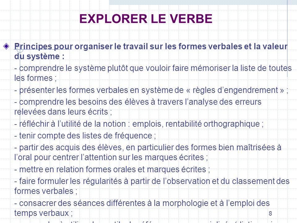 8 EXPLORER LE VERBE Principes pour organiser le travail sur les formes verbales et la valeur du système : - comprendre le système plutôt que vouloir f