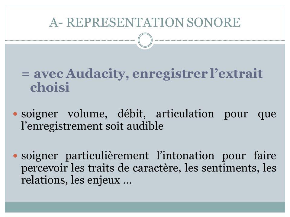 A- REPRESENTATION SONORE = avec Audacity, enregistrer lextrait choisi soigner volume, débit, articulation pour que lenregistrement soit audible soigne