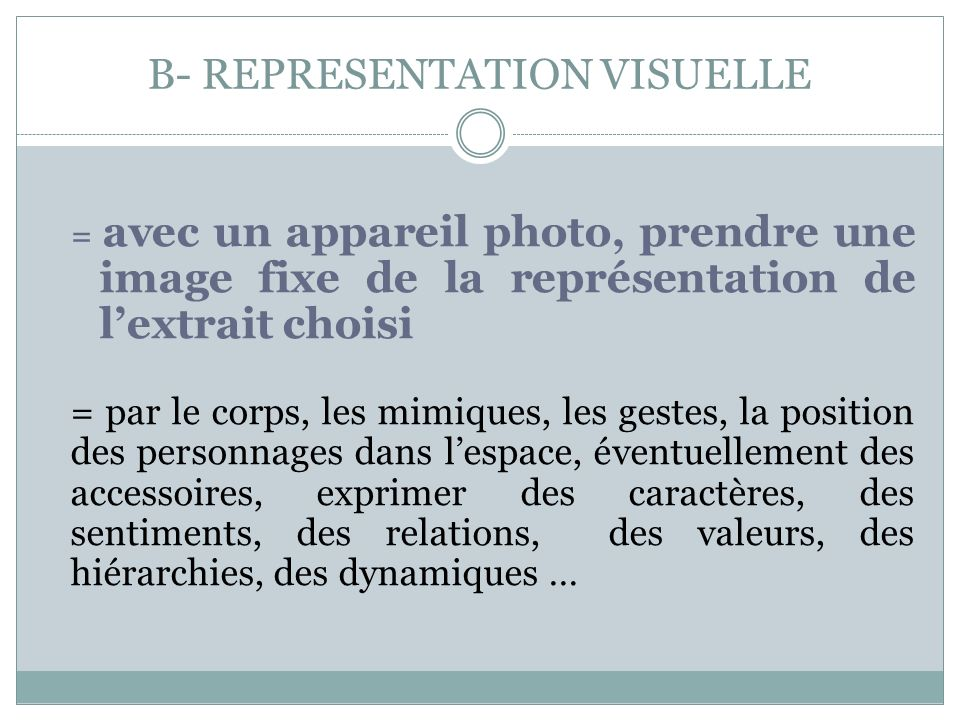 B- REPRESENTATION VISUELLE = avec un appareil photo, prendre une image fixe de la représentation de lextrait choisi = par le corps, les mimiques, les