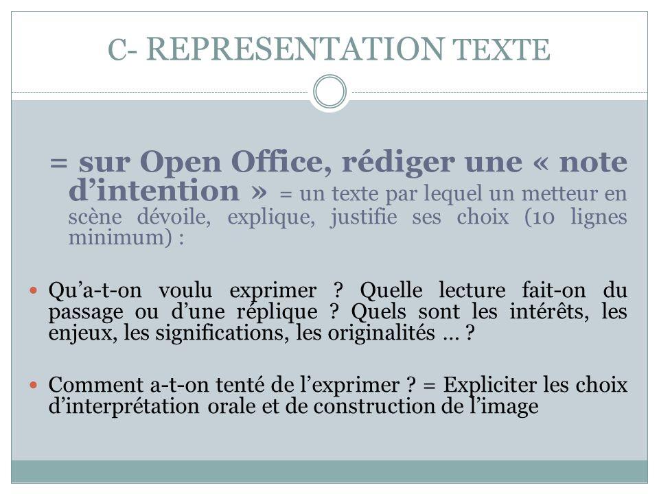 C- REPRESENTATION TEXTE = sur Open Office, rédiger une « note dintention » = un texte par lequel un metteur en scène dévoile, explique, justifie ses c