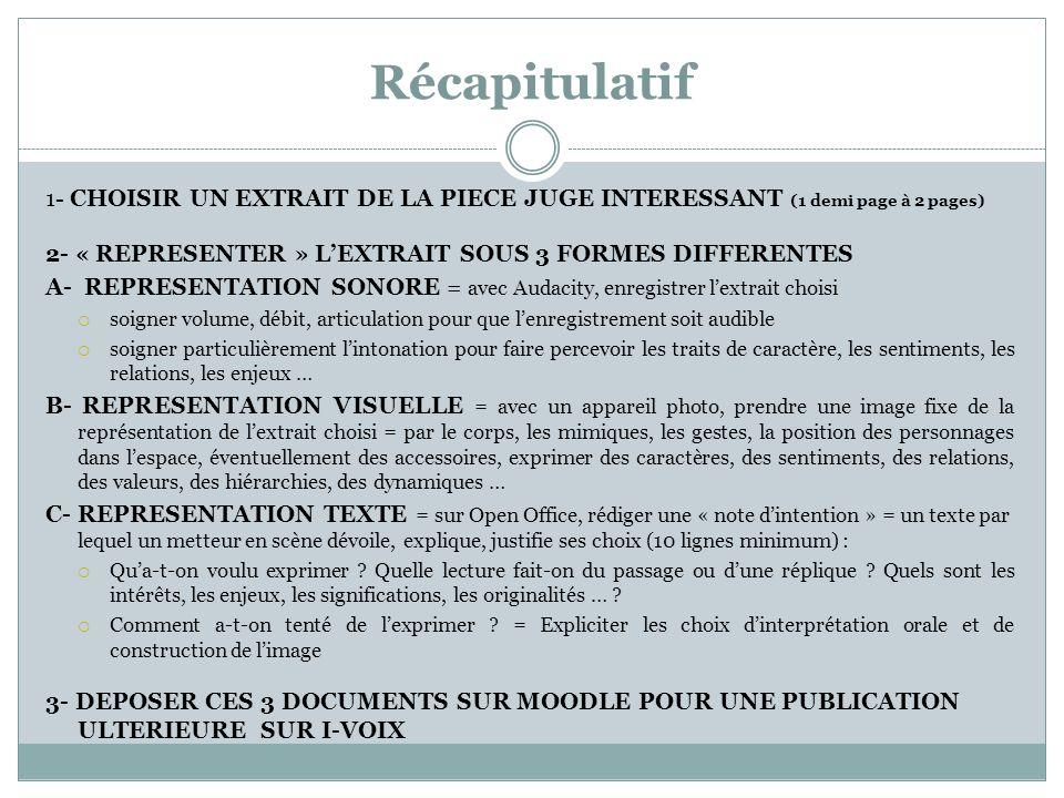 Récapitulatif 1- CHOISIR UN EXTRAIT DE LA PIECE JUGE INTERESSANT (1 demi page à 2 pages) 2- « REPRESENTER » LEXTRAIT SOUS 3 FORMES DIFFERENTES A- REPR