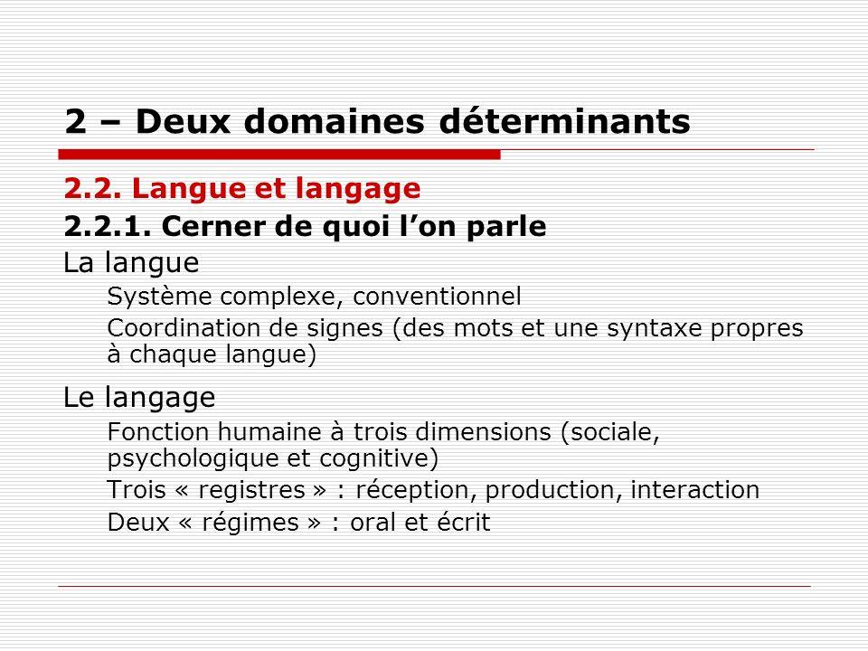 2 – Deux domaines déterminants 2.2. Langue et langage 2.2.1. Cerner de quoi lon parle La langue Système complexe, conventionnel Coordination de signes