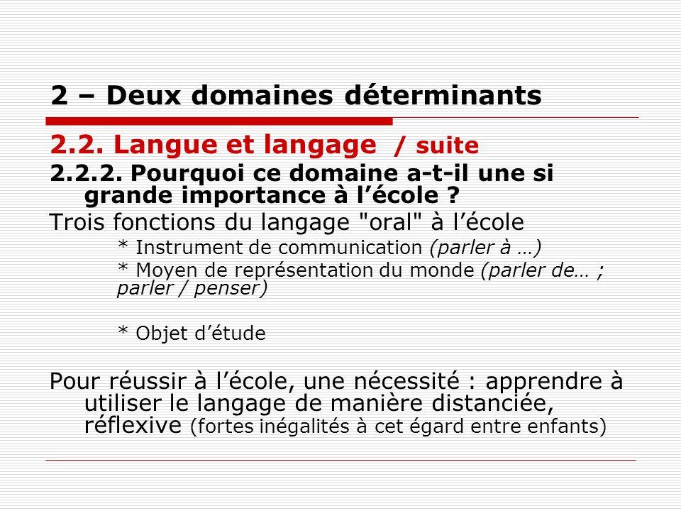 2 – Deux domaines déterminants 2.2. Langue et langage / suite 2.2.2. Pourquoi ce domaine a-t-il une si grande importance à lécole ? Trois fonctions du