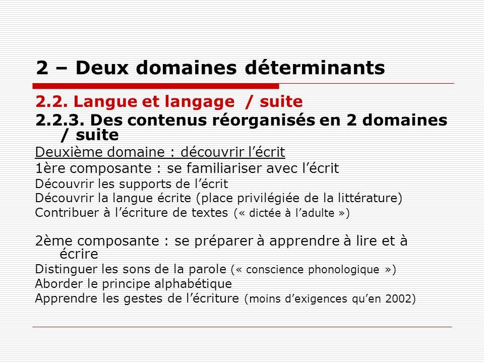 2 – Deux domaines déterminants 2.2. Langue et langage / suite 2.2.3. Des contenus réorganisés en 2 domaines / suite Deuxième domaine : découvrir lécri