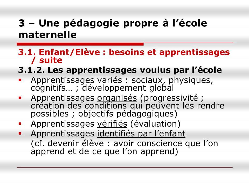 3 – Une pédagogie propre à lécole maternelle 3.1. Enfant/Elève : besoins et apprentissages / suite 3.1.2. Les apprentissages voulus par lécole Apprent