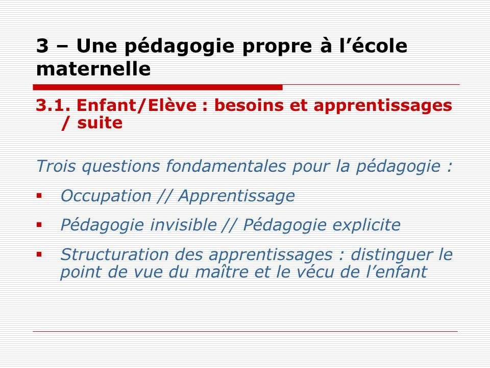 3 – Une pédagogie propre à lécole maternelle 3.1. Enfant/Elève : besoins et apprentissages / suite Trois questions fondamentales pour la pédagogie : O