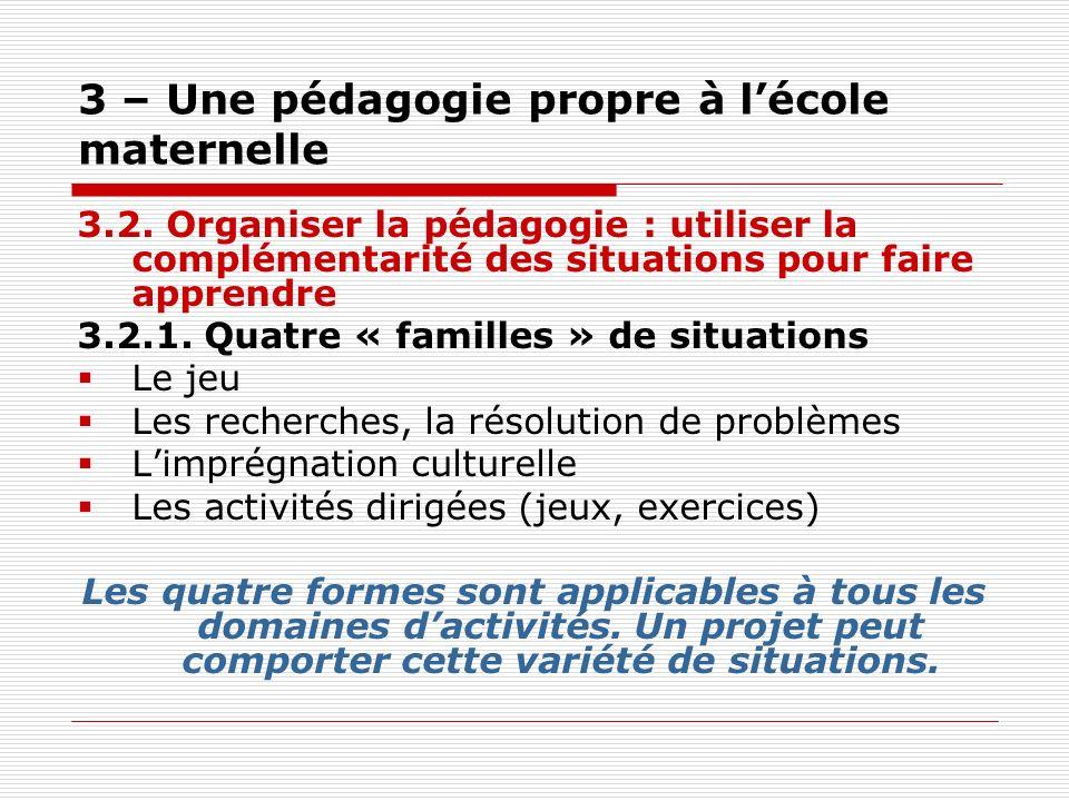 3 – Une pédagogie propre à lécole maternelle 3.2. Organiser la pédagogie : utiliser la complémentarité des situations pour faire apprendre 3.2.1. Quat
