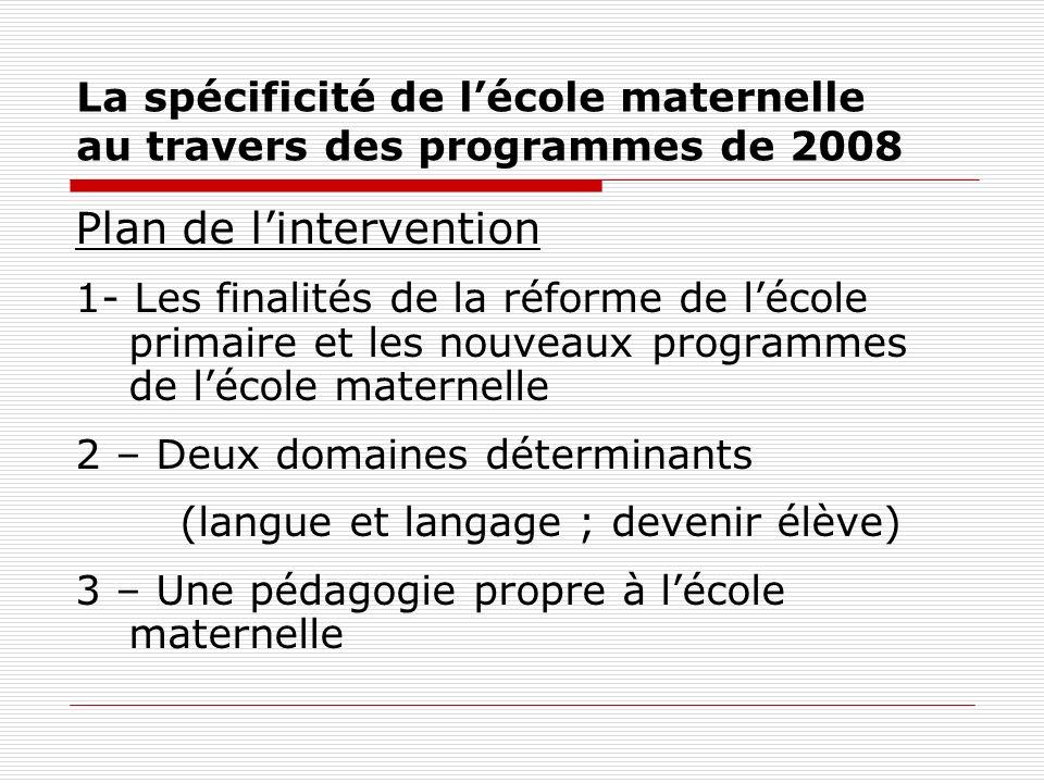 La spécificité de lécole maternelle au travers des programmes de 2008 Plan de lintervention 1- Les finalités de la réforme de lécole primaire et les n