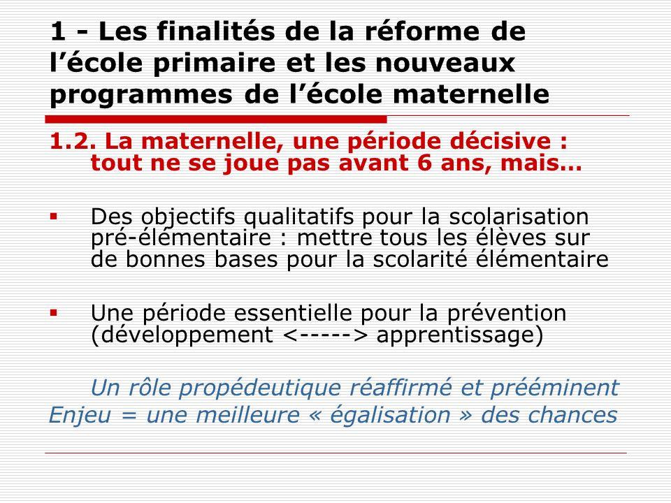 1 - Les finalités de la réforme de lécole primaire et les nouveaux programmes de lécole maternelle 1.2. La maternelle, une période décisive : tout ne