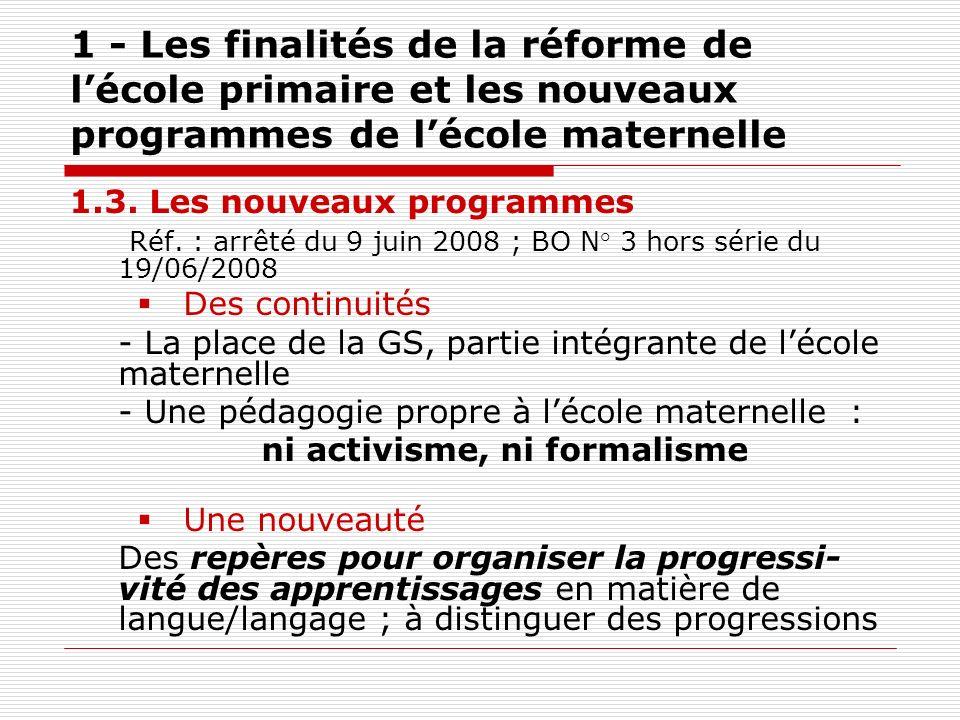 1 - Les finalités de la réforme de lécole primaire et les nouveaux programmes de lécole maternelle 1.3. Les nouveaux programmes Réf. : arrêté du 9 jui