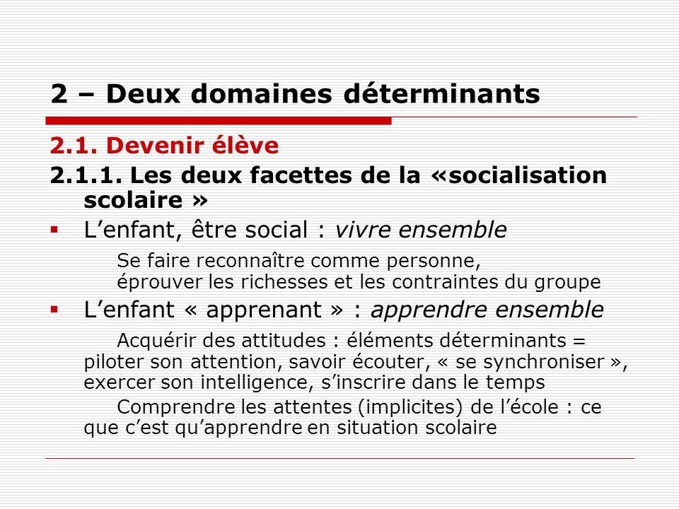 2 – Deux domaines déterminants 2.1. Devenir élève 2.1.1. Les deux facettes de la «socialisation scolaire » Lenfant, être social : vivre ensemble Se fa