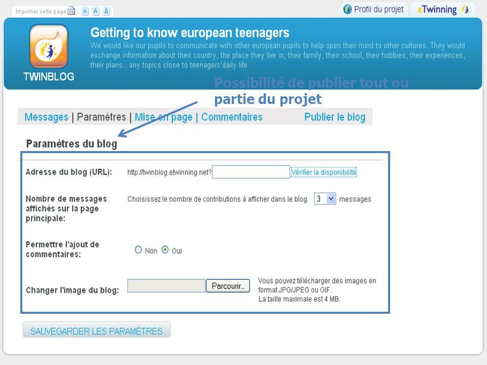 MLF- Florence vendredi 19 février 2010 Possibilité de publier tout ou partie du projet
