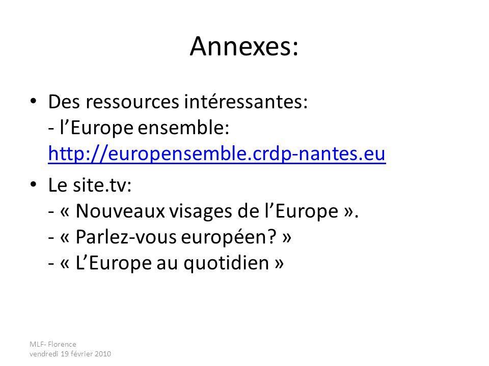 MLF- Florence vendredi 19 février 2010 Annexes: Des ressources intéressantes: - lEurope ensemble: http://europensemble.crdp-nantes.eu http://europensemble.crdp-nantes.eu Le site.tv: - « Nouveaux visages de lEurope ».