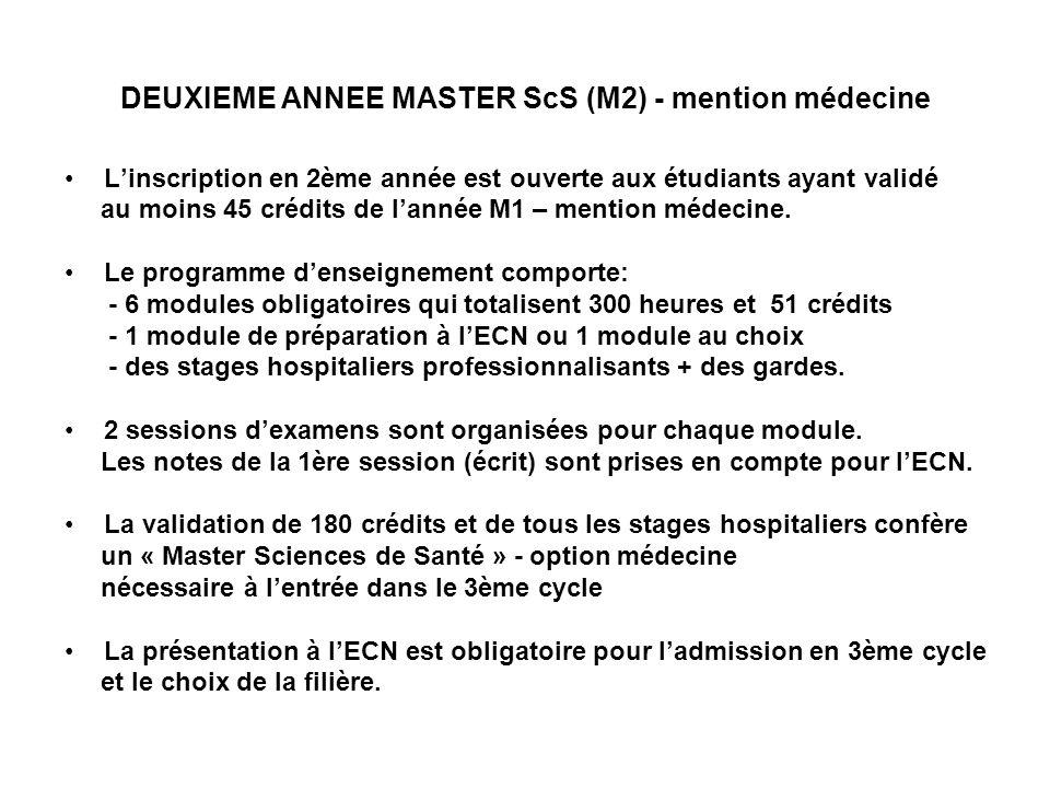 DEUXIEME ANNEE MASTER ScS (M2) - mention médecine Linscription en 2ème année est ouverte aux étudiants ayant validé au moins 45 crédits de lannée M1 – mention médecine.