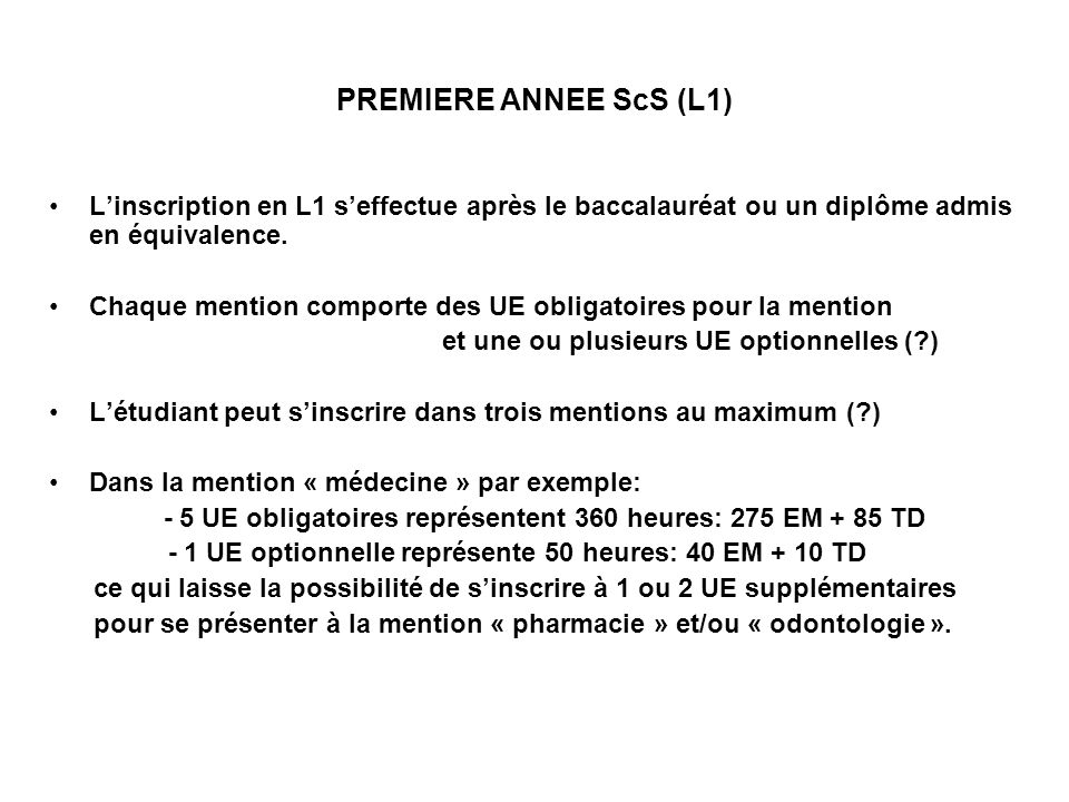Propositions dUE pour la première année de Licence ScS CREDITS Unité* dinitiation aux Sciences humaines et sociales (90h) 12 Unité* dinitiation à la Biol.