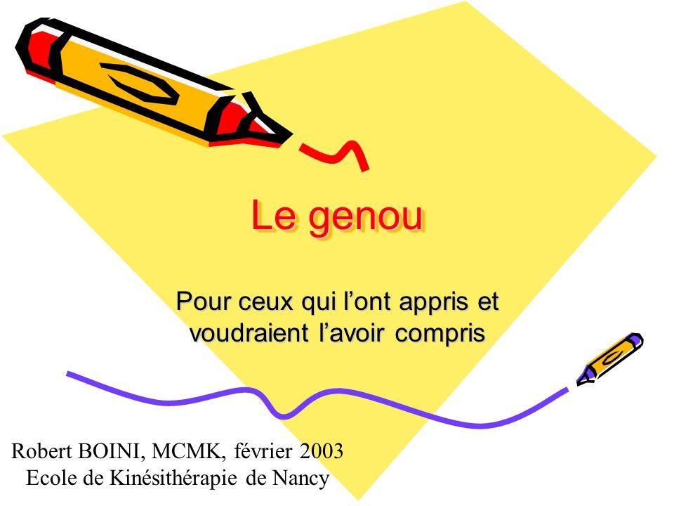 Le genou Pour ceux qui lont appris et voudraient lavoir compris Robert BOINI, MCMK, février 2003 Ecole de Kinésithérapie de Nancy