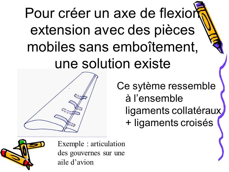 Pour créer un axe de flexion extension avec des pièces mobiles sans emboîtement, une solution existe Ce sytème ressemble à lensemble ligaments collatéraux + ligaments croisés Exemple : articulation des gouvernes sur une aile davion