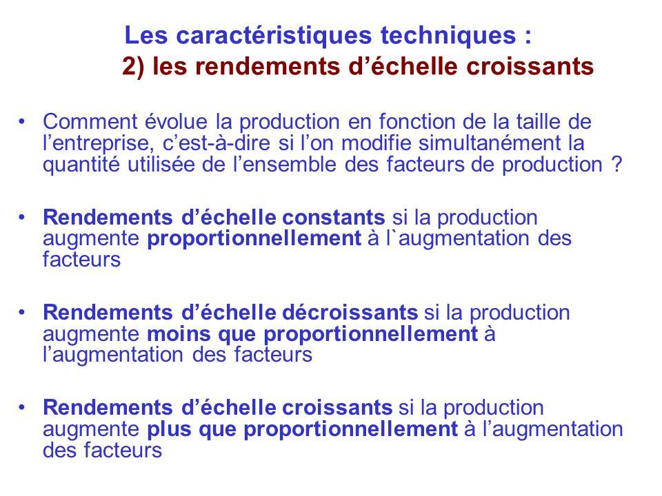 Les caractéristiques techniques : 2) les rendements déchelle croissants Comment évolue la production en fonction de la taille de lentreprise, cest-à-d