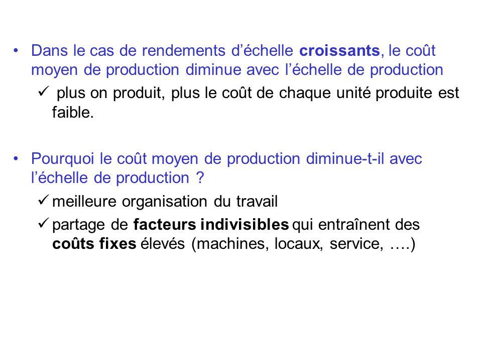 Dans le cas de rendements déchelle croissants, le coût moyen de production diminue avec léchelle de production plus on produit, plus le coût de chaque