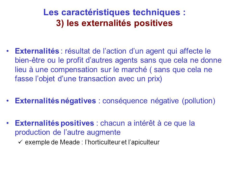 Les caractéristiques techniques : 3) les externalités positives Externalités : résultat de laction dun agent qui affecte le bien-être ou le profit dau