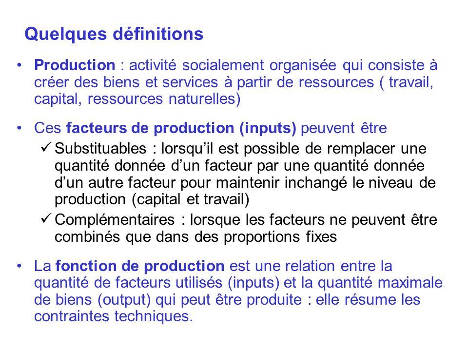 Quelques définitions Production : activité socialement organisée qui consiste à créer des biens et services à partir de ressources ( travail, capital,