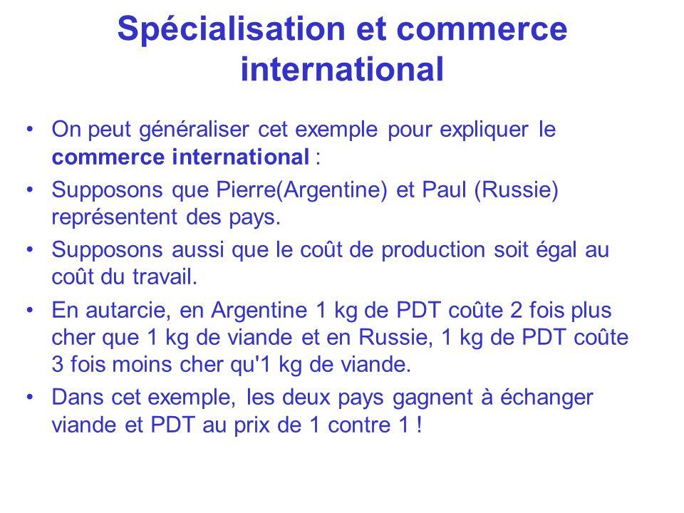 On peut généraliser cet exemple pour expliquer le commerce international : Supposons que Pierre(Argentine) et Paul (Russie) représentent des pays. Sup