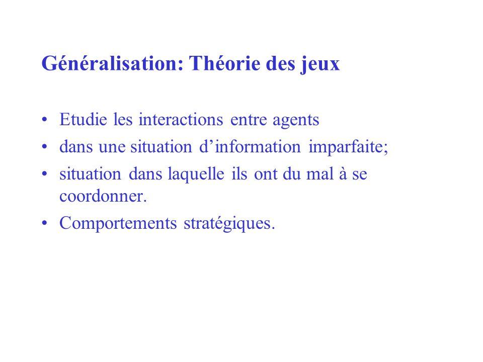 Généralisation: Théorie des jeux Etudie les interactions entre agents dans une situation dinformation imparfaite; situation dans laquelle ils ont du m