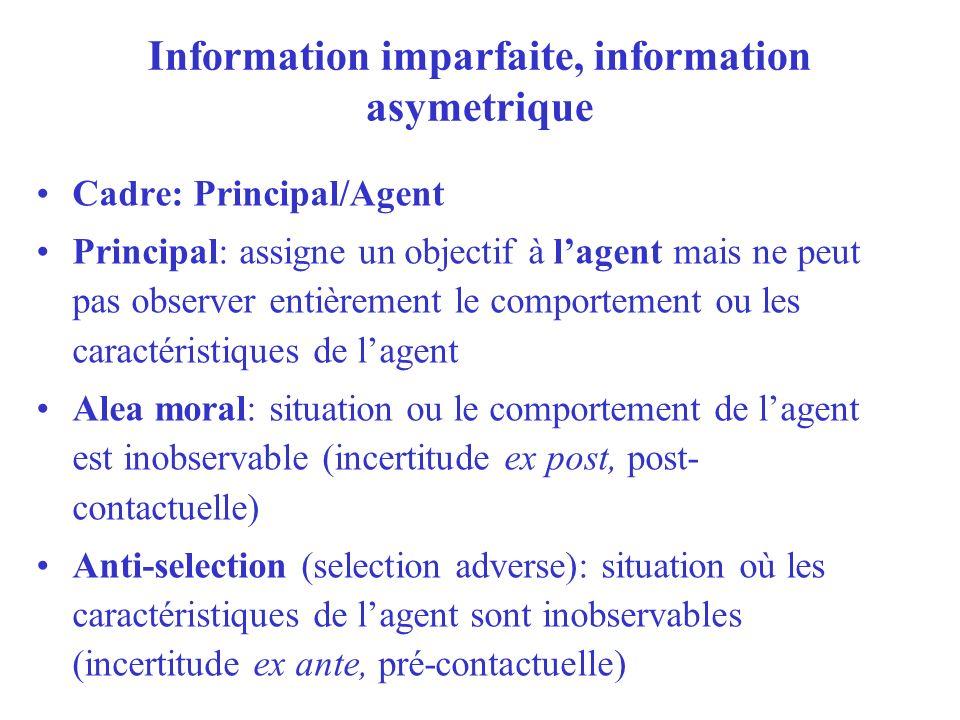 Information imparfaite, information asymetrique Cadre: Principal/Agent Principal: assigne un objectif à lagent mais ne peut pas observer entièrement l