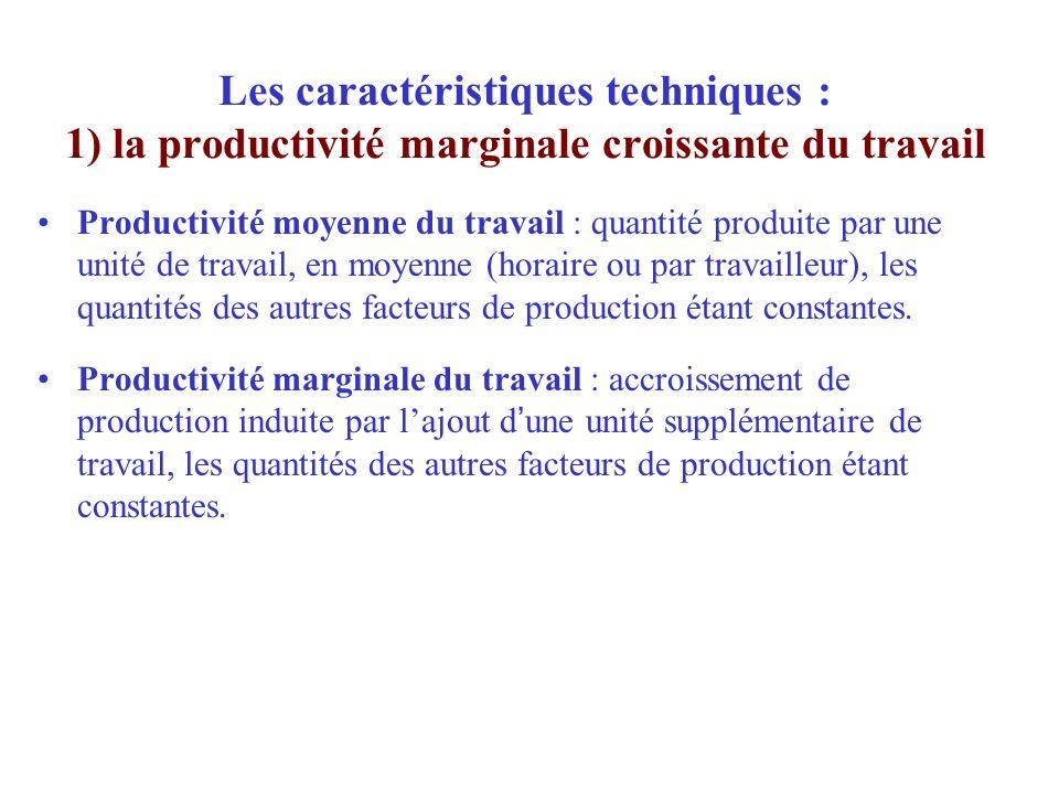 Les caractéristiques techniques : 1) la productivité marginale croissante du travail Productivité moyenne du travail : quantité produite par une unité
