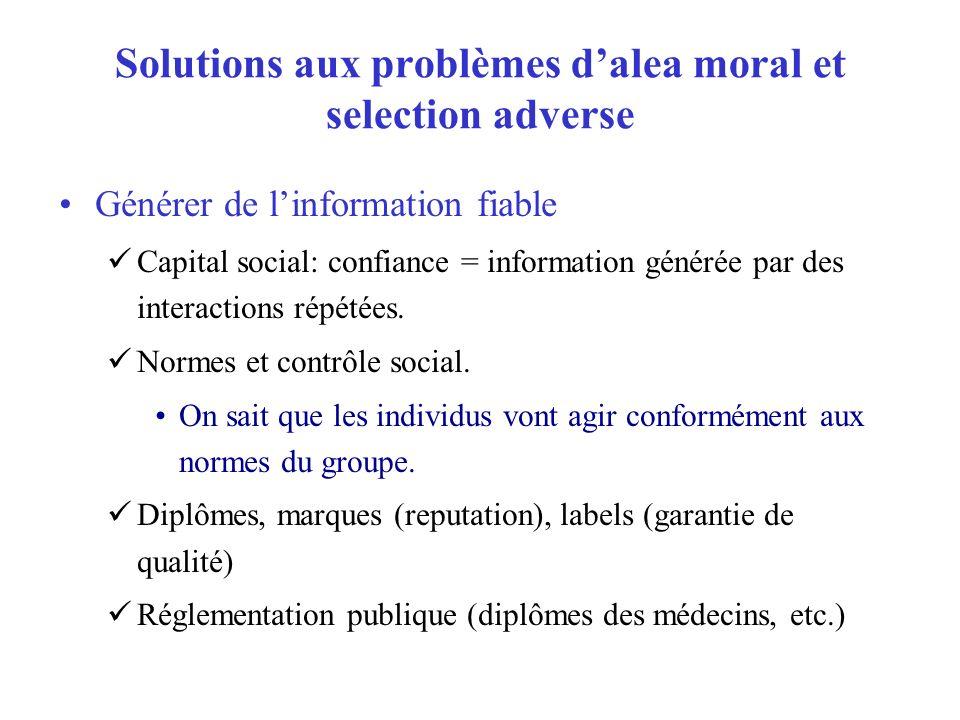 Solutions aux problèmes dalea moral et selection adverse Générer de linformation fiable Capital social: confiance = information générée par des intera