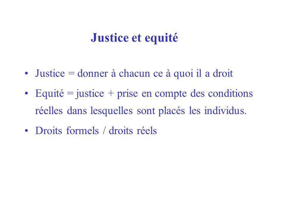 Justice et equité Justice = donner à chacun ce à quoi il a droit Equité = justice + prise en compte des conditions réelles dans lesquelles sont placés