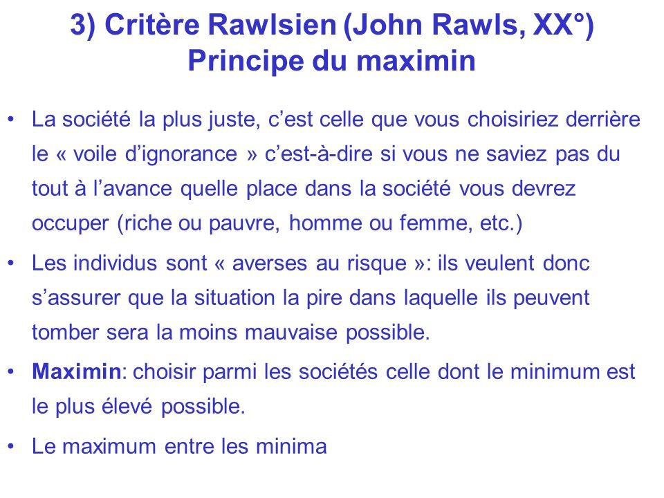 3) Critère Rawlsien (John Rawls, XX°) Principe du maximin La société la plus juste, cest celle que vous choisiriez derrière le « voile dignorance » ce