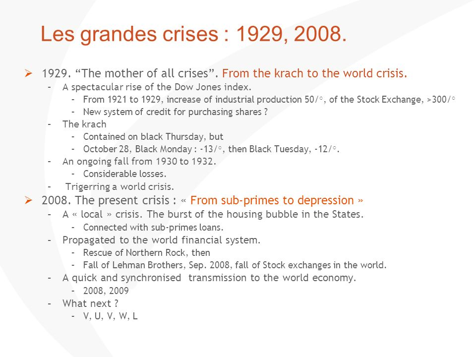 Les grandes crises : 1929, 2008. 1929. The mother of all crises. From the krach to the world crisis. –A spectacular rise of the Dow Jones index. –From