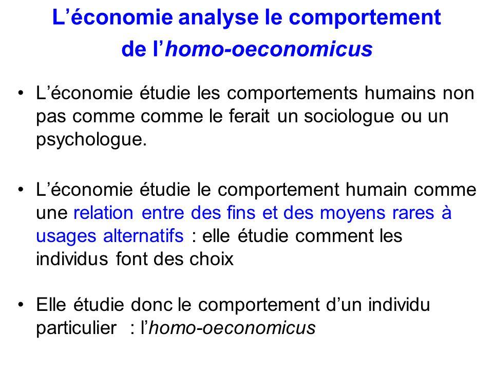 Le champ de léconomie Définition large: Léconomie = science des choix.