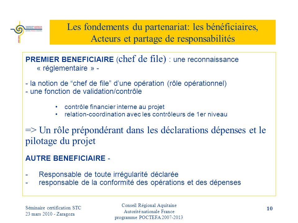 Séminaire certification STC 23 mars 2010 - Zaragoza Conseil Régional Aquitaine Autorité nationale France programme POCTEFA 2007-2013 10 Les fondements du partenariat: les bénéficiaires, Acteurs et partage de responsabilités PREMIER BENEFICIAIRE ( chef de file) : une reconnaissance « réglementaire » - - la notion de chef de file dune opération (rôle opérationnel) - une fonction de validation/contrôle contrôle financier interne au projet relation-coordination avec les contrôleurs de 1er niveau => Un rôle prépondérant dans les déclarations dépenses et le pilotage du projet AUTRE BENEFICIAIRE - - Responsable de toute irrégularité déclarée - responsable de la conformité des opérations et des dépenses