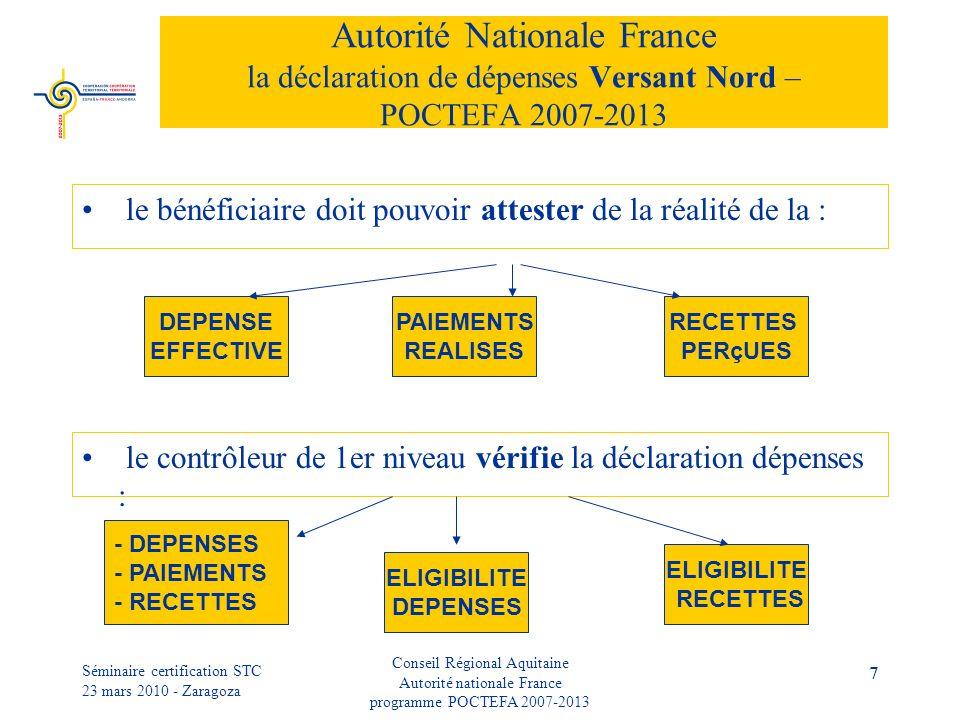 Séminaire certification STC 23 mars 2010 - Zaragoza Conseil Régional Aquitaine Autorité nationale France programme POCTEFA 2007-2013 7 Autorité Nationale France la déclaration de dépenses Versant Nord – POCTEFA 2007-2013 le bénéficiaire doit pouvoir attester de la réalité de la : DEPENSE EFFECTIVE PAIEMENTS REALISES RECETTES PERçUES le contrôleur de 1er niveau vérifie la déclaration dépenses : - DEPENSES - PAIEMENTS - RECETTES ELIGIBILITE DEPENSES ELIGIBILITE RECETTES