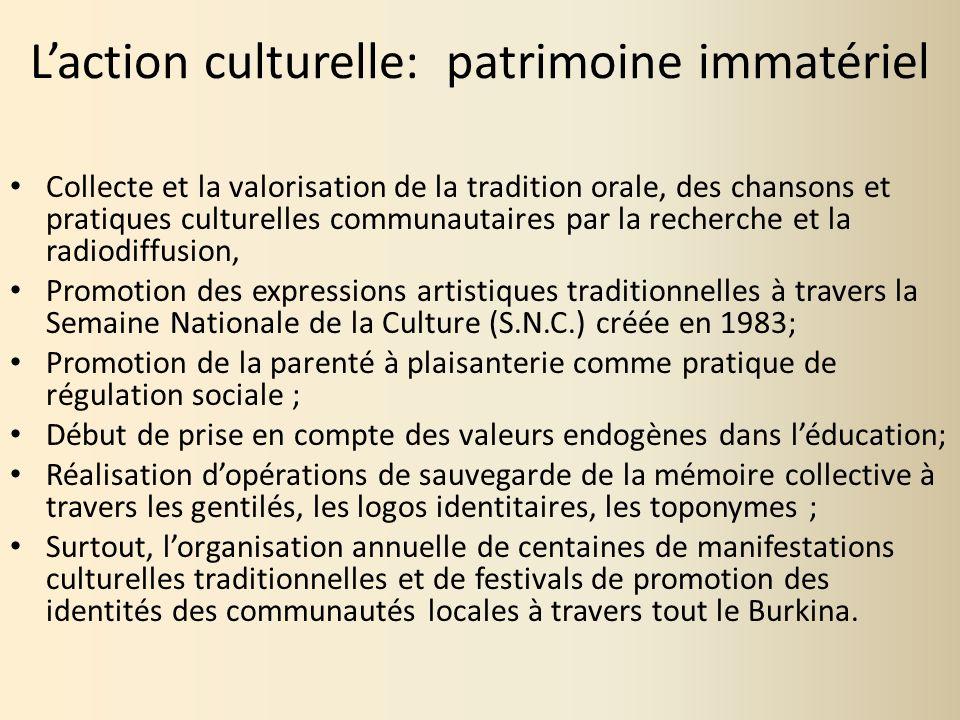 Laction culturelle: patrimoine immatériel Collecte et la valorisation de la tradition orale, des chansons et pratiques culturelles communautaires par