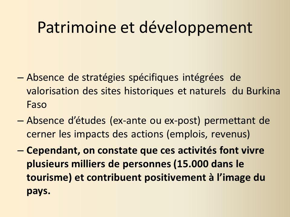 Patrimoine et développement – Absence de stratégies spécifiques intégrées de valorisation des sites historiques et naturels du Burkina Faso – Absence