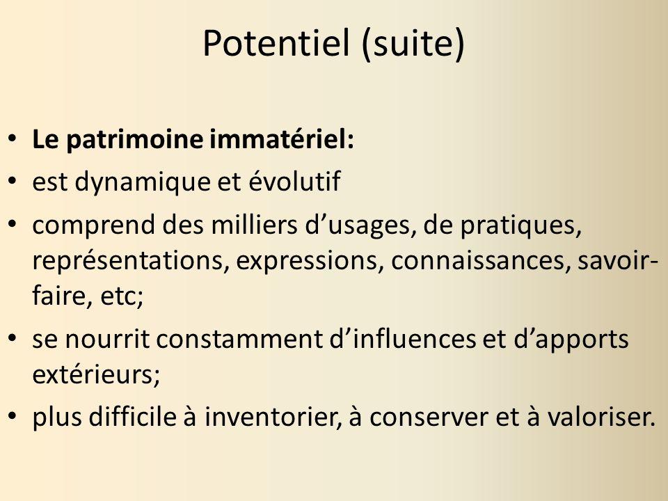 Potentiel (suite) Le patrimoine immatériel: est dynamique et évolutif comprend des milliers dusages, de pratiques, représentations, expressions, conna