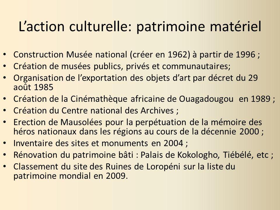 Laction culturelle: patrimoine matériel Construction Musée national (créer en 1962) à partir de 1996 ; Création de musées publics, privés et communaut